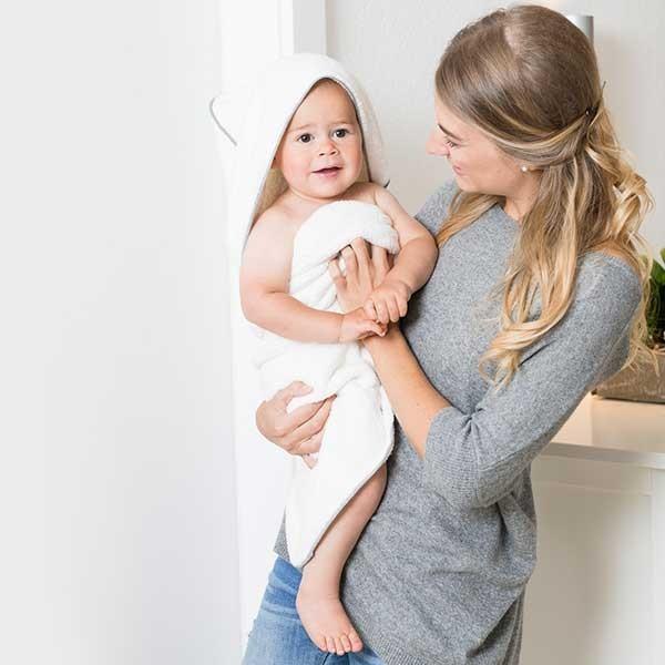 Home-Baby-Kinder-Kapuzentuch weiß-grau